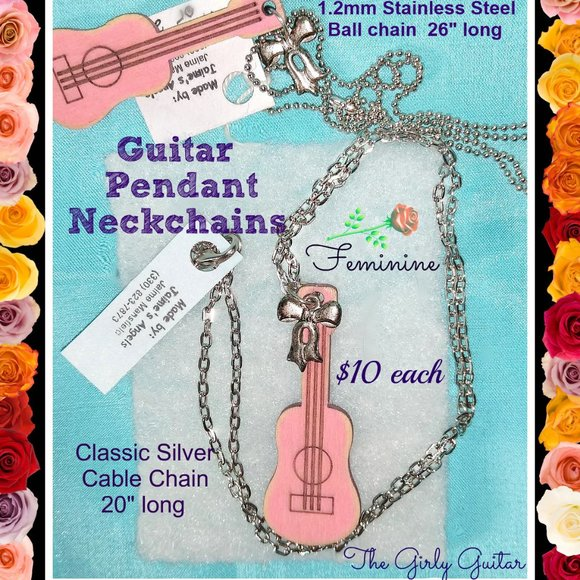 Pink Girly Guitar Necklaces